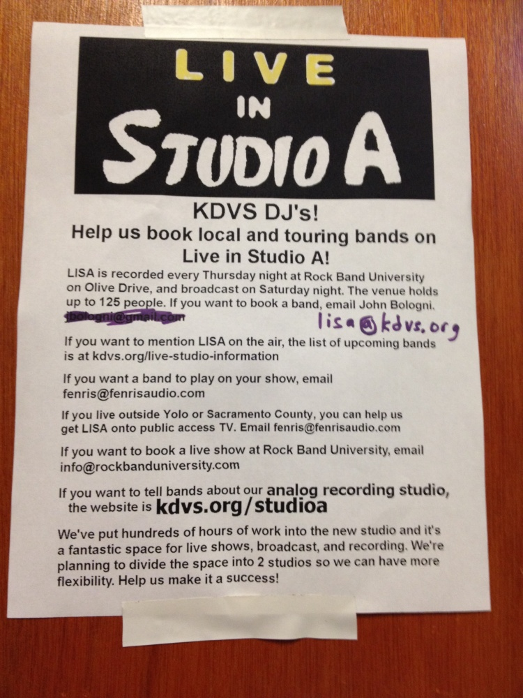 Live In Studio A - booking info posted inside of the KDVS radio Staion.